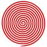 红色和白色圆的抽象漩涡安眠药螺旋 库存例证