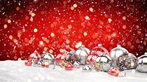 红色和白色圣诞节中看不中用的物品排队了3D翻译 免版税图库摄影