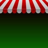 红色和白色小条有空间的商店遮篷Text.Vector的 库存图片