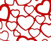 红色和白色心脏集合背景背景婚礼华伦泰爱言情设计 库存照片