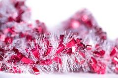 红色和白色抽象圣诞节装饰背景 免版税库存图片