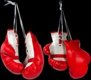 红色和白色拳击手套 免版税库存照片