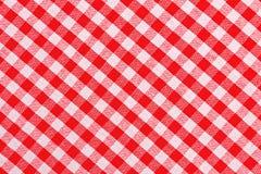 红色和白色方格的桌布 免版税图库摄影