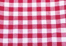 红色和白色方格的织品背景 免版税图库摄影