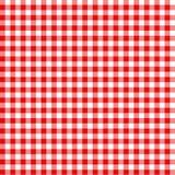 红色和白色检查了桌布样式方格的野餐 库存照片