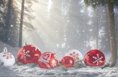 红色和白色泡影在多雪的森林环境美化 免版税库存照片
