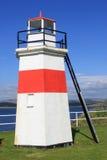 红色和白色灯塔在Crinan运河的NW末端 免版税库存照片