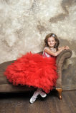 红色和白色礼服开会的年轻公主 免版税库存图片