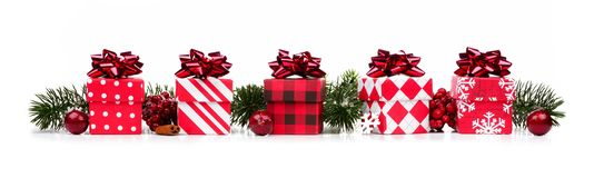 红色和白色礼物盒和分支圣诞节边界  库存图片