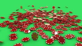 红色和白色纸牌筹码 免版税库存照片