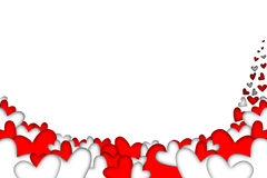 红色和白色落的心脏 库存图片