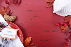 红色和白色题材感恩背景 库存照片
