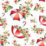 红色和白花和伞无缝的样式 库存图片
