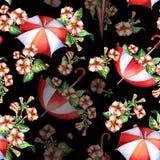 红色和白花和伞无缝的样式 库存照片