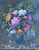 红色和白花花束在花瓶,静物画的 库存例证