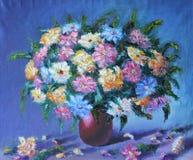 红色和白花花束在花瓶,静物画的 向量例证