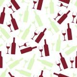 红色和白葡萄酒玻璃和瓶无缝的样式 库存照片
