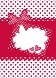 红色和空白圆点礼品看板卡 免版税库存照片