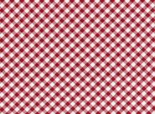 红色和空白镶边无缝的桌布 库存图片