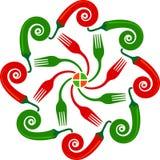 红色和绿色辣椒商标 皇族释放例证