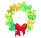 红色和绿色逗人喜爱的弓花圈 库存图片