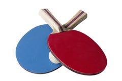 红色和蓝色乒乓球桨-顶面饰面照相机 库存照片