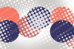 红色和蓝色圈子和小点,抽象背景 免版税图库摄影