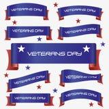 红色和蓝色弯曲了退伍军人日丝带横幅eps10 免版税库存照片