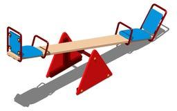 红色和蓝色摇摆-孩子的平衡器,一起滑冰的,在白色背景的等量传染媒介例证 库存照片