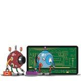 红色和蓝色机器人在电话到达了 免版税库存照片