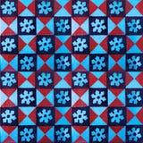 红色和蓝色样式瓦片的汇集 免版税图库摄影