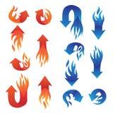 红色和蓝色火箭头收藏 库存图片