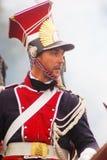 红色和蓝色统一的新战士在Borodino 免版税库存图片