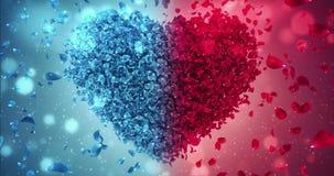 红色和蓝色罗斯花落的瓣爱心脏婚礼背景圈4k