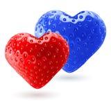 红色和蓝色草莓心脏 免版税库存照片