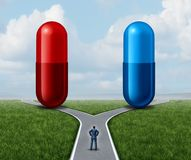 红色和蓝色药片选择 库存例证