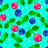 红色和蓝色莓果的无缝的样式 库存图片