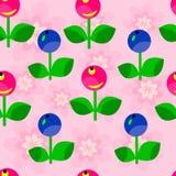红色和蓝色莓果的无缝的花卉样式 免版税库存图片
