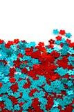 红色和蓝色衣服饰物之小金属片 库存图片