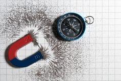 红色和蓝色马掌磁性的磁铁或有铁粉末磁场的物理和指南针在白皮书图表背景 免版税图库摄影