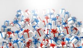 红色和蓝色3d礼物盒 库存图片