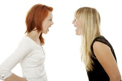 红色和金发女孩彼此呼喊 免版税库存照片