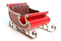 红色和金圣诞老人雪橇 库存图片