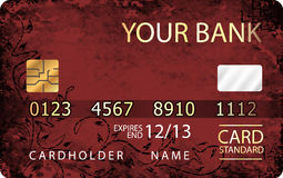 红色和金子信用卡有抽象花卉背景 免版税库存图片
