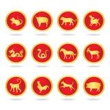 红色和金子在圈子的二十七个星座-导航设计 免版税库存照片
