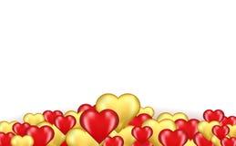红色和金心脏边界  库存照片