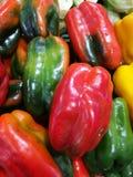红色和青椒在农夫市场上 免版税库存照片