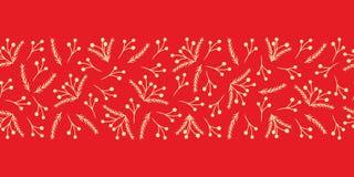 红色和黄色圣诞节无缝的花卉边界 向量例证