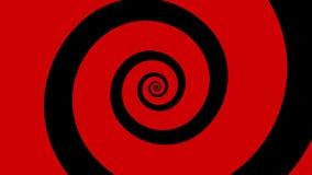 红色和黑动画片螺旋转动在圈