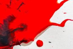 红色和黑油漆水彩纹理的抽象 免版税图库摄影
